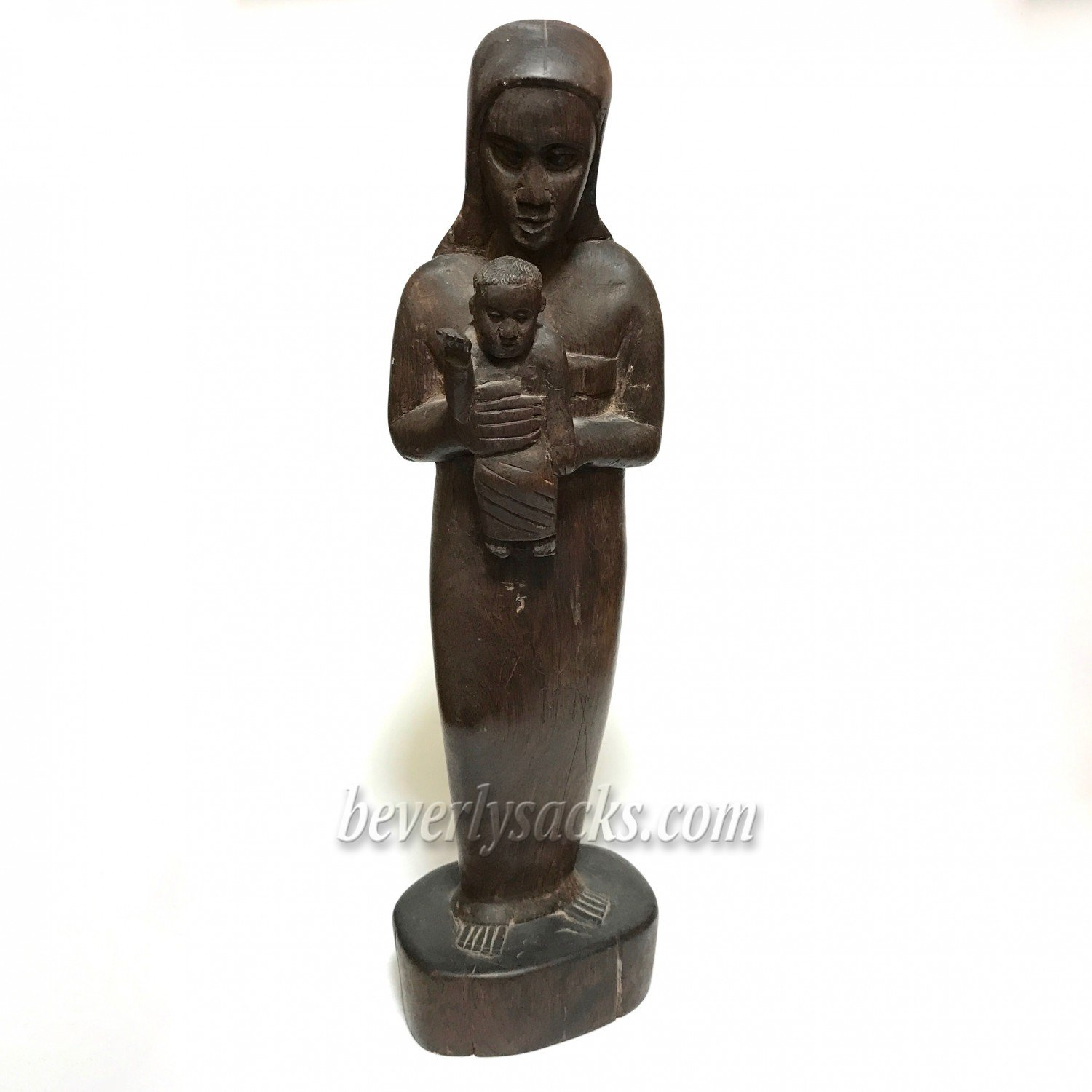 Madonna and child hand carved wood sculpture beverly sacks